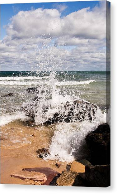 Alger Waterfalls Canvas Print - Crashing Wave II by James Marvin Phelps