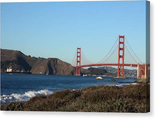 Gates Canvas Print - Crashing Waves And The Golden Gate Bridge by Linda Woods