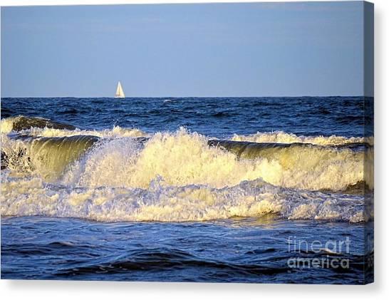 Crashing Waves And White Sails Canvas Print