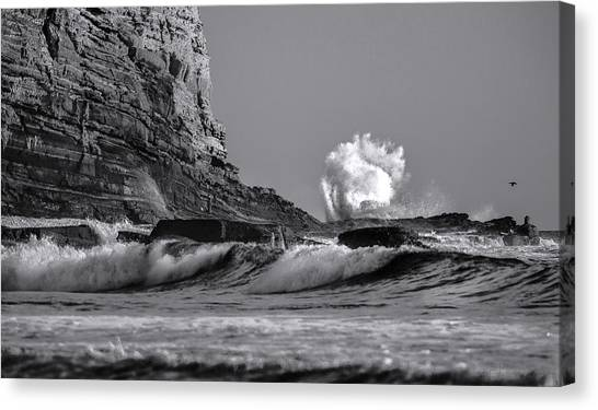 Crashing Waves At Cabrillo By Denise Dube Canvas Print