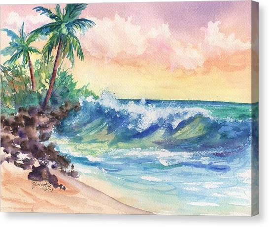 Crashing Waves At Sunrise Canvas Print
