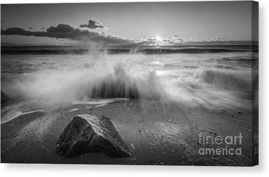 Mv Canvas Print - Crashing Waves Bw by Michael Ver Sprill