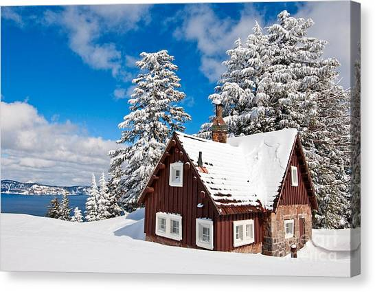 Snow Canvas Print - Crater Lake Home - Crater Lake Covered In Snow In The Winter. by Jamie Pham