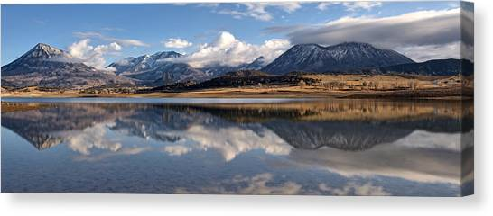 Crawford Reservoir And The West Elk Mountains Canvas Print