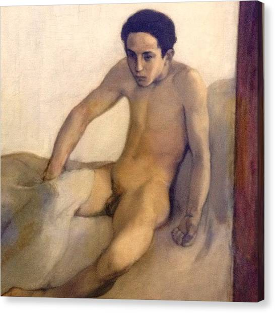 Erotic Canvas Print - Crawling Out Of Bed #naked #nude #boy by Dimitre Mihaylov