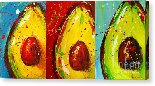 Crazy Avocados Triptych  Canvas Print