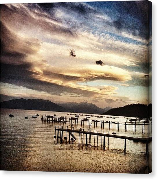Lake Sunsets Canvas Print - Crazy Clouds 9/2/13 by Tim  Rantz