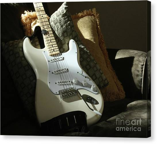 Cream Guitar Canvas Print