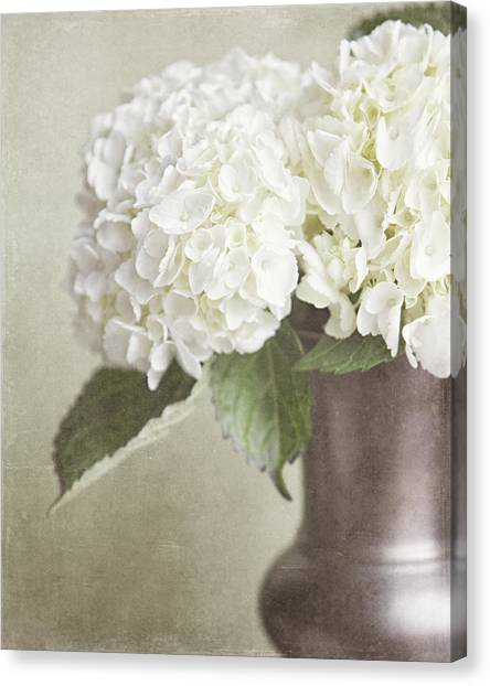 Vase Of Flowers Canvas Print - Cream Hydrangea In A Bronze Vase Still Life by Lisa Russo