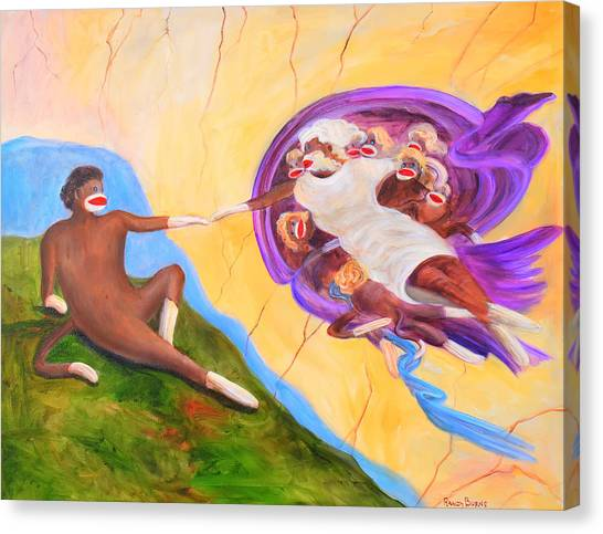 Creation Of A Sock Monkey Canvas Print