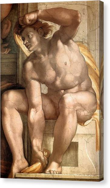 Michelangelo Simoni Canvas Print - Creation Of Eve - Ignudo Detail by Michelangelo Buonarroti