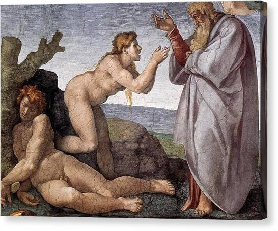 Michelangelo Simoni Canvas Print - Creation Of Eve by Michelangelo Buonarroti