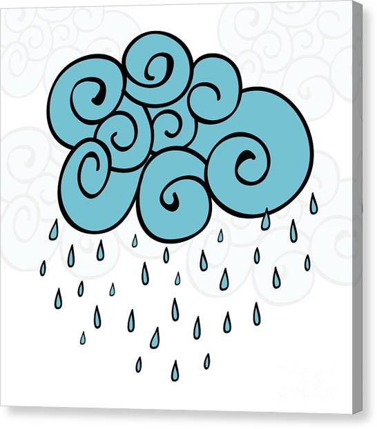 Happy Canvas Print - Creative Blue Cloud And Raindrops by Allies Interactive