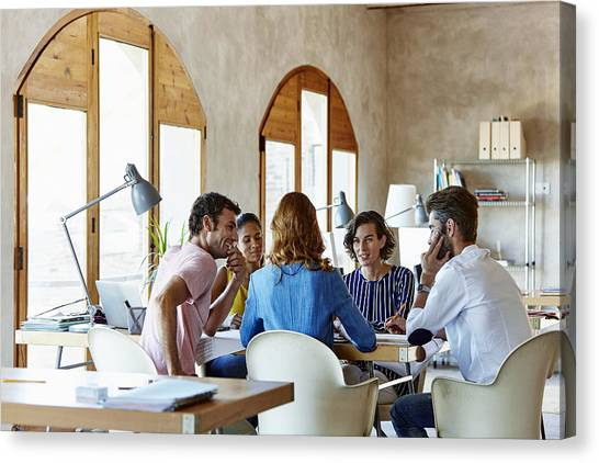 Creative Business People Discussing In Office Canvas Print by Morsa Images