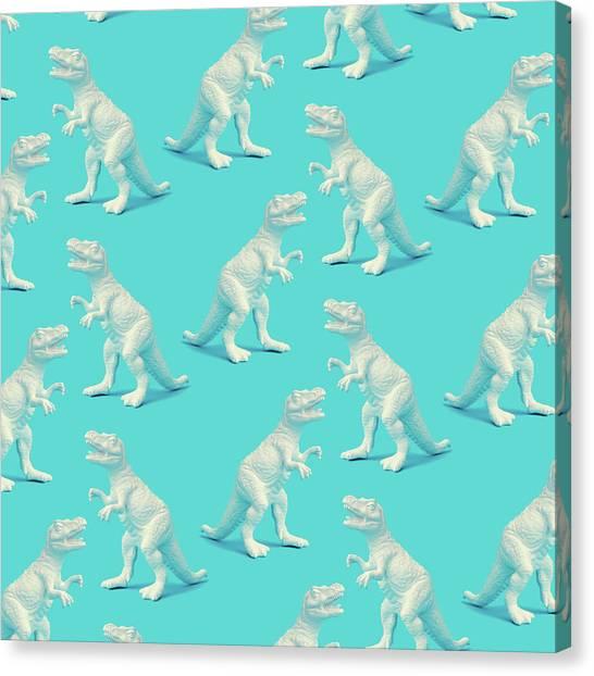 Printmaking Canvas Print - Creative White Painted Dinosaur Pattern by Ivan101