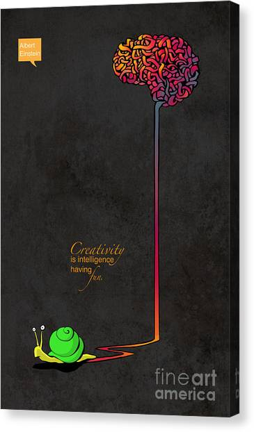 Brain Canvas Print - Creativity Is Intelligence Having Fun by Sassan Filsoof