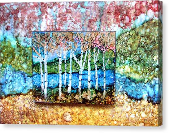 Creek Birches Canvas Print