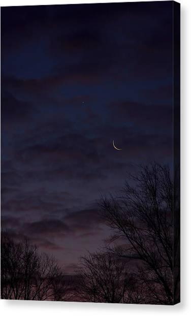 Crescent Moon And Venus Rising Canvas Print