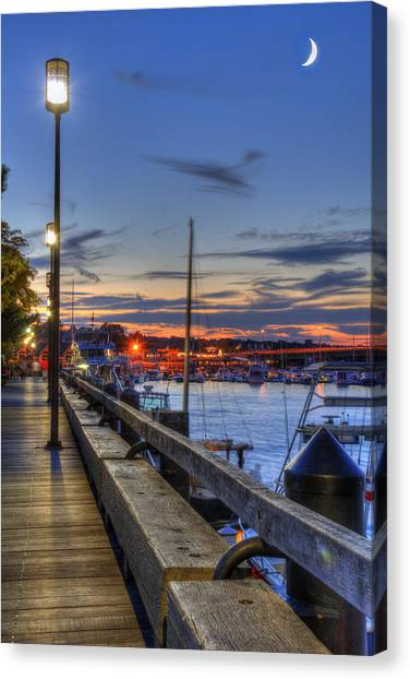 Crescent Moon Over Newburyport Harbor Canvas Print