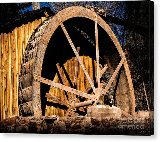 Old Building And Water Wheel Canvas Print
