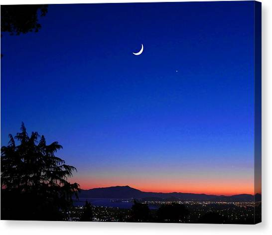 Crescent Moon San Francisco Bay Canvas Print
