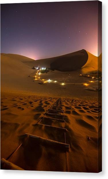 Gobi Desert Canvas Print - Crescent Moon Spring by Aaron Bedell
