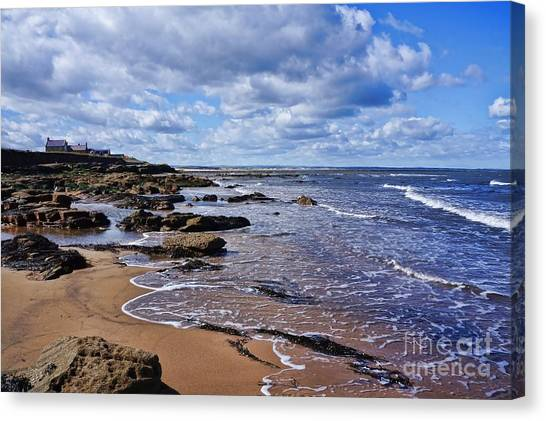 Cresswell Beach And Rocks - Northumberland Coast  Canvas Print