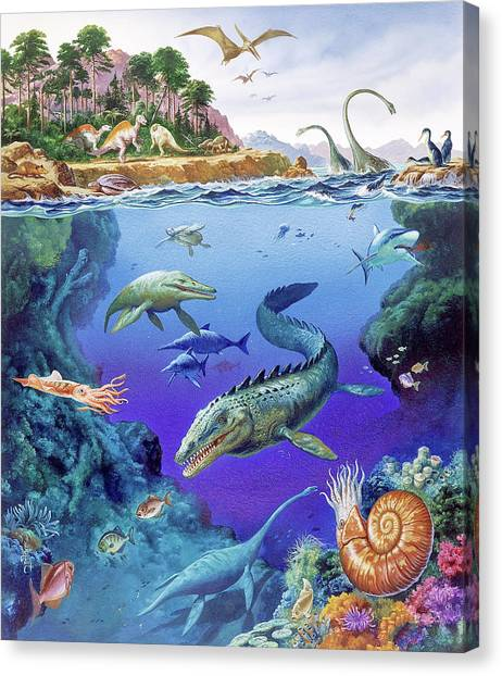 Cretaceous Period Fauna Canvas Print by Christian Jegou Publiphoto Diffusion/ Science Photo Library