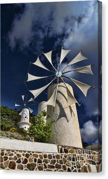 Greece Canvas Print - Creton Windmills by David Smith