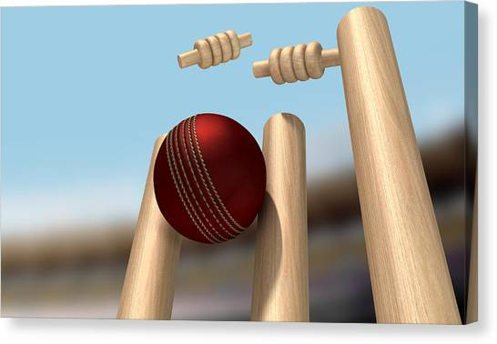 Crickets Canvas Print - Cricket Ball Hitting Wickets by Allan Swart