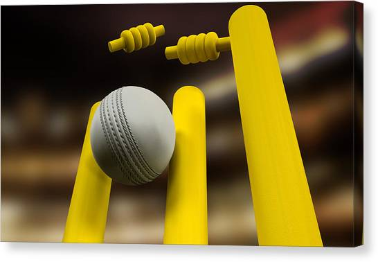 Crickets Canvas Print - Cricket Ball Hitting Wickets Night by Allan Swart