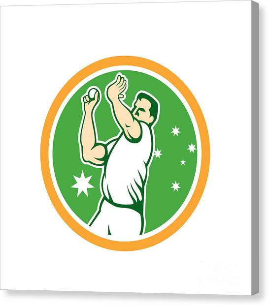 Fast Ball Canvas Print - Cricket Fast Bowler Bowling Ball Circle Cartoon by Aloysius Patrimonio