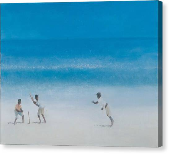 Cricket Canvas Print - Cricket On The Beach, 2012 Acrylic On Canvas by Lincoln Seligman