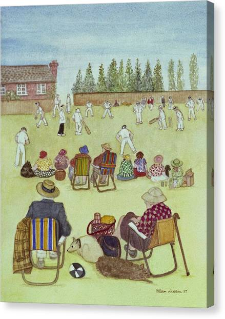 Cricket Canvas Print - Cricket On The Green, 1987 Watercolour On Paper by Gillian Lawson