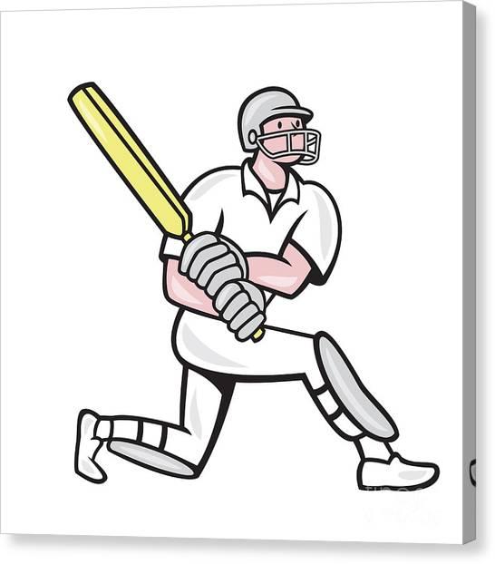 Cricket Players Canvas Print - Cricket Player Batsman Batting Kneel Cartoon by Aloysius Patrimonio