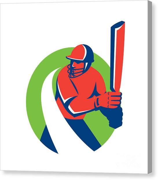 Cricket Players Canvas Print - Cricket Player Batsman Batting Retro by Aloysius Patrimonio