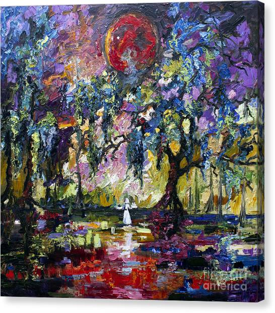 Crimson Moon Over The Garden Of Good And Evil Canvas Print