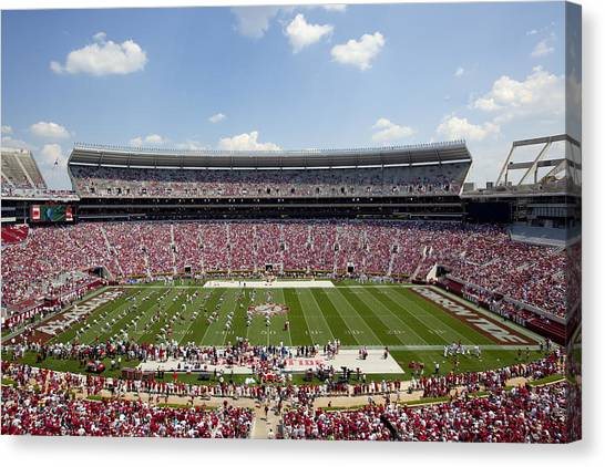 Conference Usa Canvas Print - Crimson Tide A-day Football Game At University Of Alabama  by Carol M Highsmith