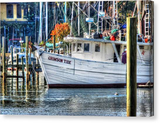 Crimson Tide In Harbor Canvas Print