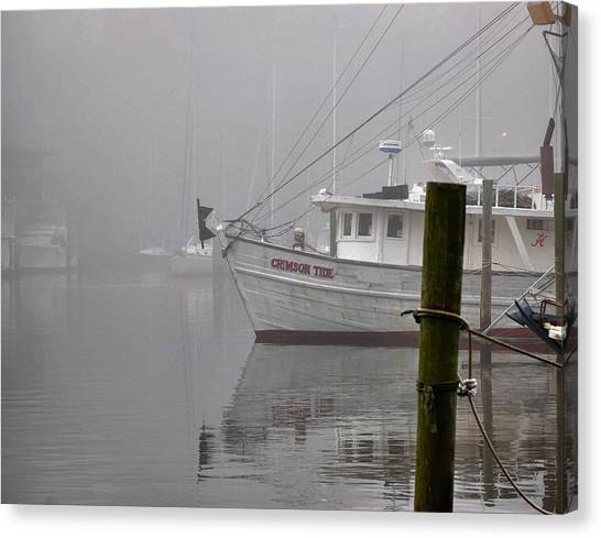 Canvas Print featuring the digital art Crimson Tide In The Mist by Michael Thomas