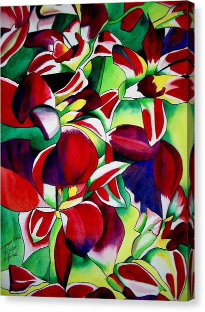 Crimson Tropical Singapore Orchids Canvas Print by Sacha Grossel