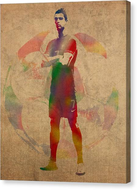 Fifa Canvas Print - Cristiano Ronaldo Soccer Football Player Portugal Real Madrid Watercolor Painting On Worn Canvas by Design Turnpike