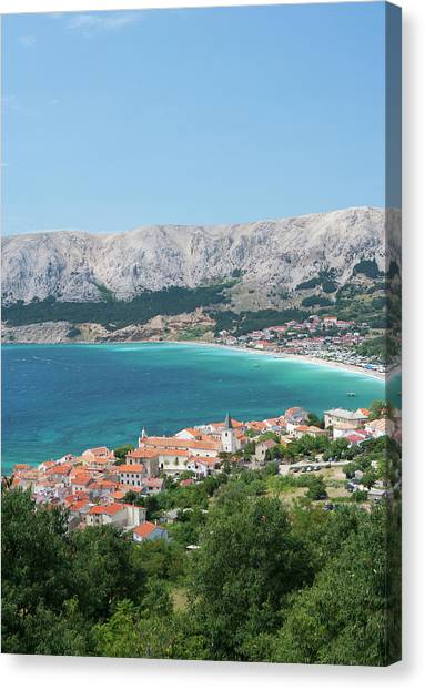 Croatia, View Of Krk Island And Baska Canvas Print by Westend61