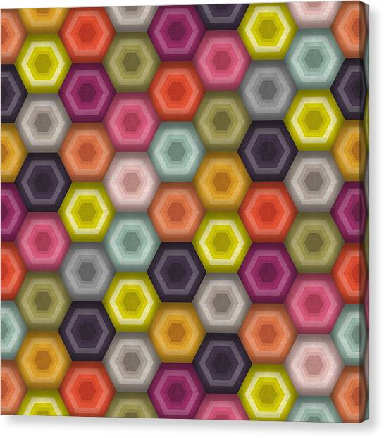 Pattern Canvas Print - Crochet Honeycomb by Sharon Turner