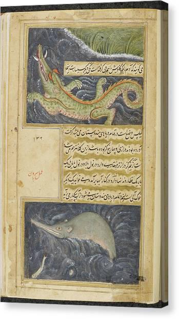 Crocodiles Canvas Print - Crocodile And Water Hog by British Library