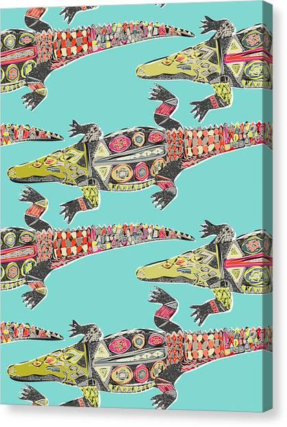 Crocodiles Canvas Print - Crocodile Blue by Sharon Turner