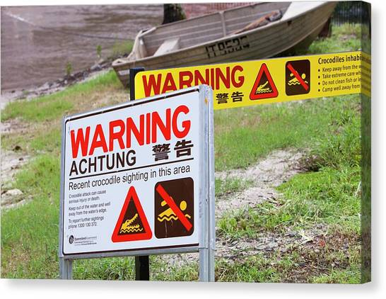 Daintree Rainforest Canvas Print - Crocodile Warning Signs by Ashley Cooper