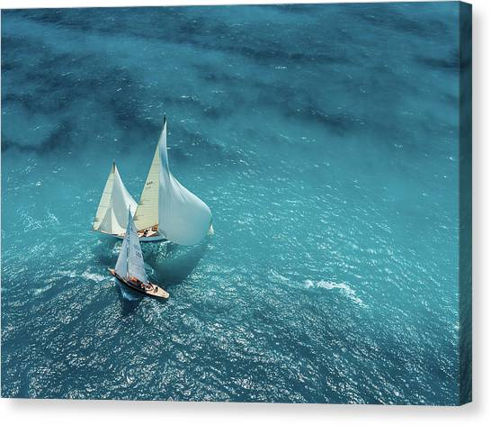 Sail Boats Canvas Print - Croisement Bleu by Marc Pelissier