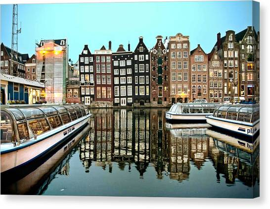Crooked Houses On The Canal Canvas Print
