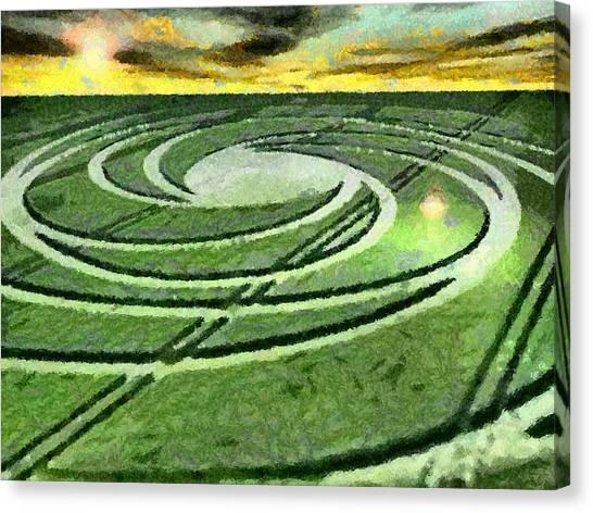 Crop Circles In Field Canvas Print